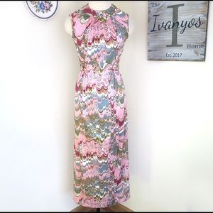 Vintage Leslie Fay Marble Print Sleeveless Dress